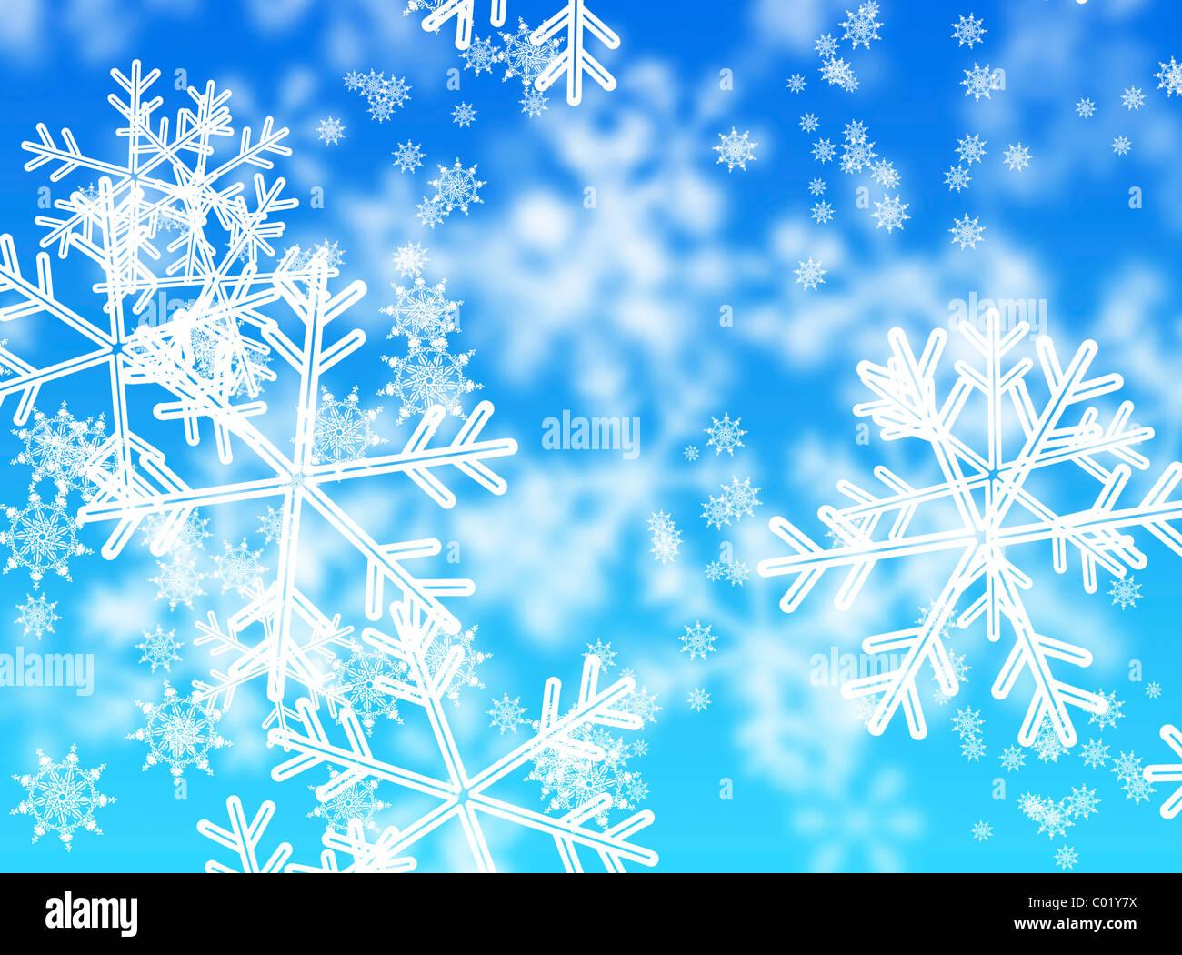 Abstrakte Schneeflocken, blauer Hintergrund Stockbild