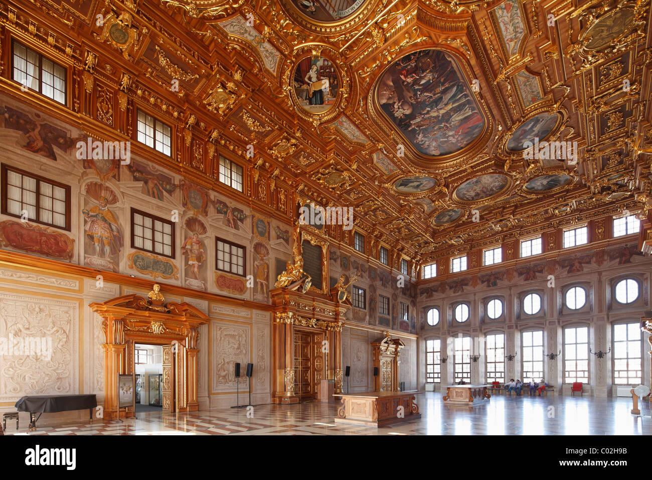 Goldener Saal Saal im Rathaus, Augsburg, Schwaben, Bayern, Deutschland, Europa Stockbild