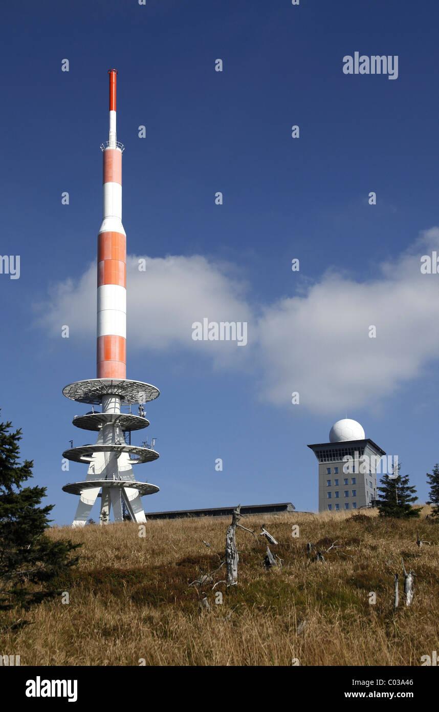Sender und Wetterstation auf dem Brocken Berg, Harz, Sachsen-Anhalt, Deutschland, Europa Stockbild