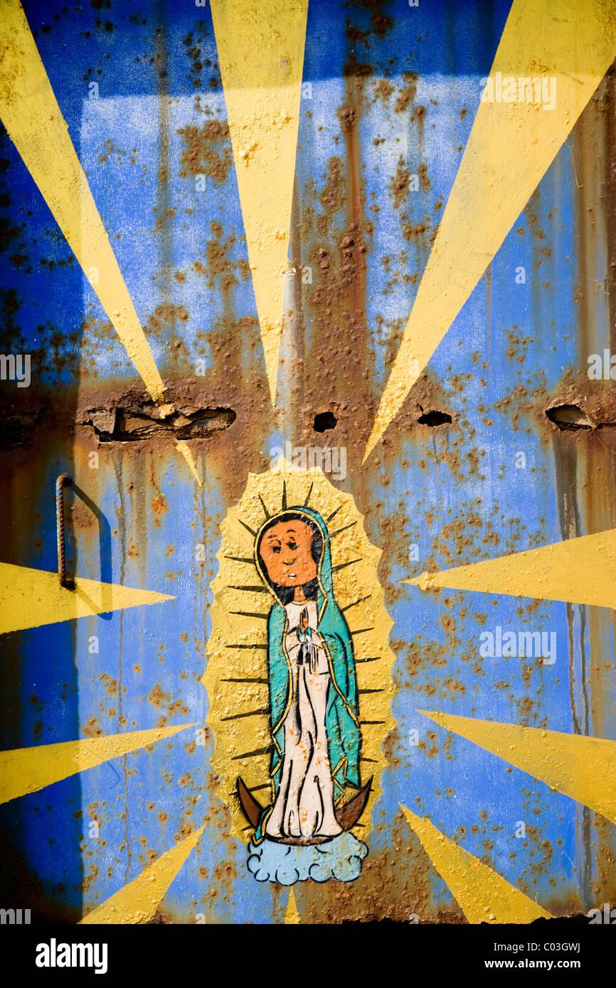 Graffiti von der Jungfrau Maria in Barcelona, Katalonien, Spanien, Europa Stockbild