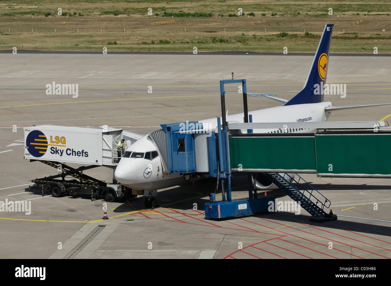 Lufthansa-Maschine entladen wird, Container und Laufgang verbunden zum Flugzeug, Schürze, Flughafen Köln Stockbild