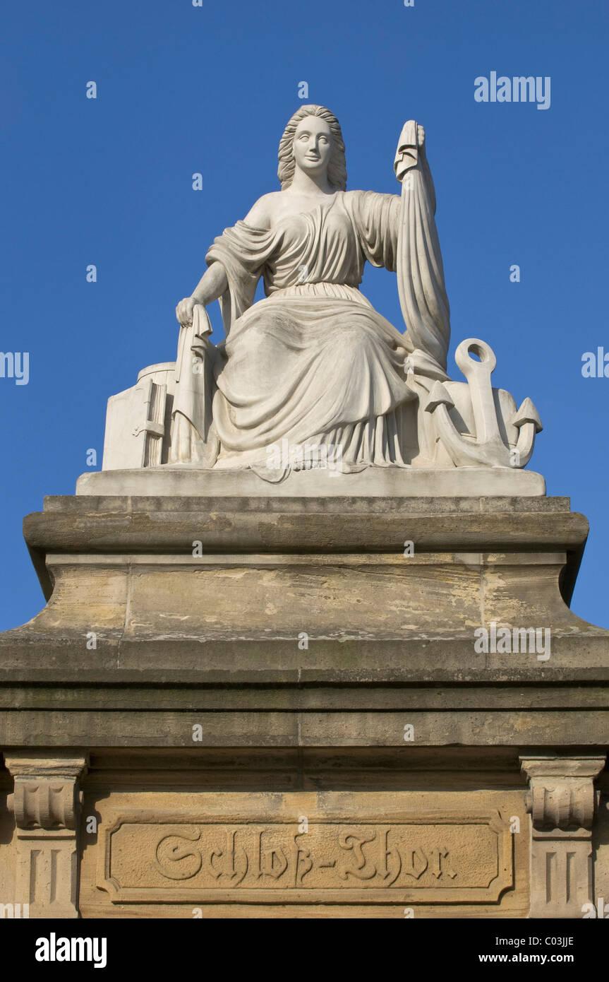"""""""Seefahrt Und Handel"""" Statue """"Seefahrt und Handel"""", auf eine Sandsteinsäule, Mainz Burgtor, Stockbild"""