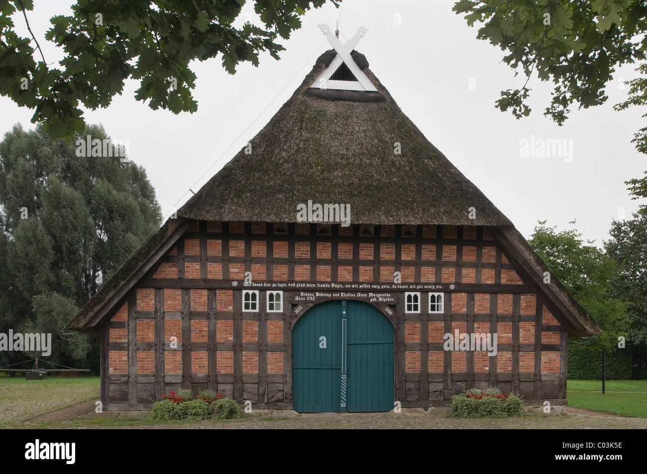 Sottrumer Heritage House, restaurierte Halle Haus, Wuemme Rothenburg District, Niedersachsen, Deutschland, Europa Stockbild