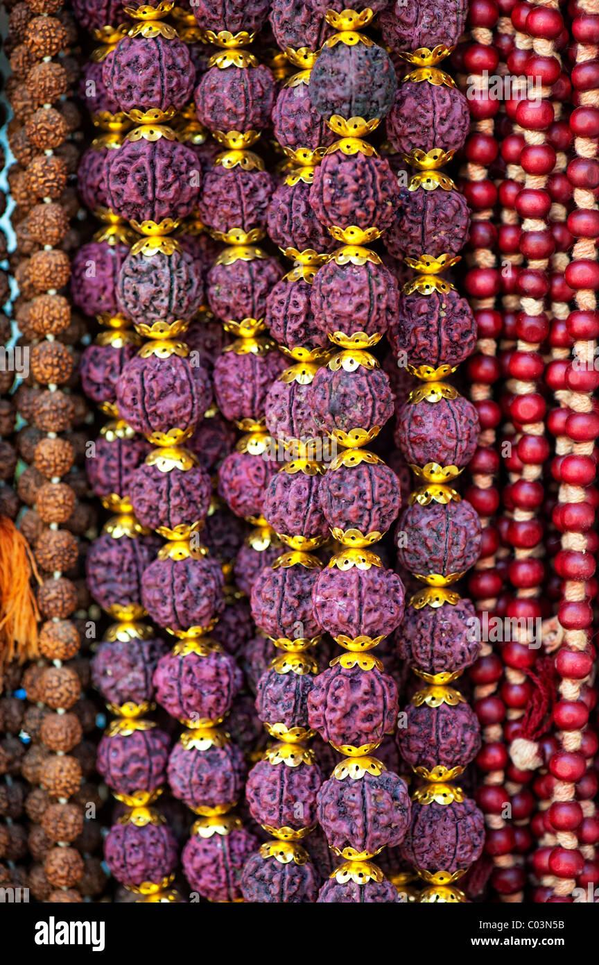 Indische Rudraksha Gebetskette Stockfoto