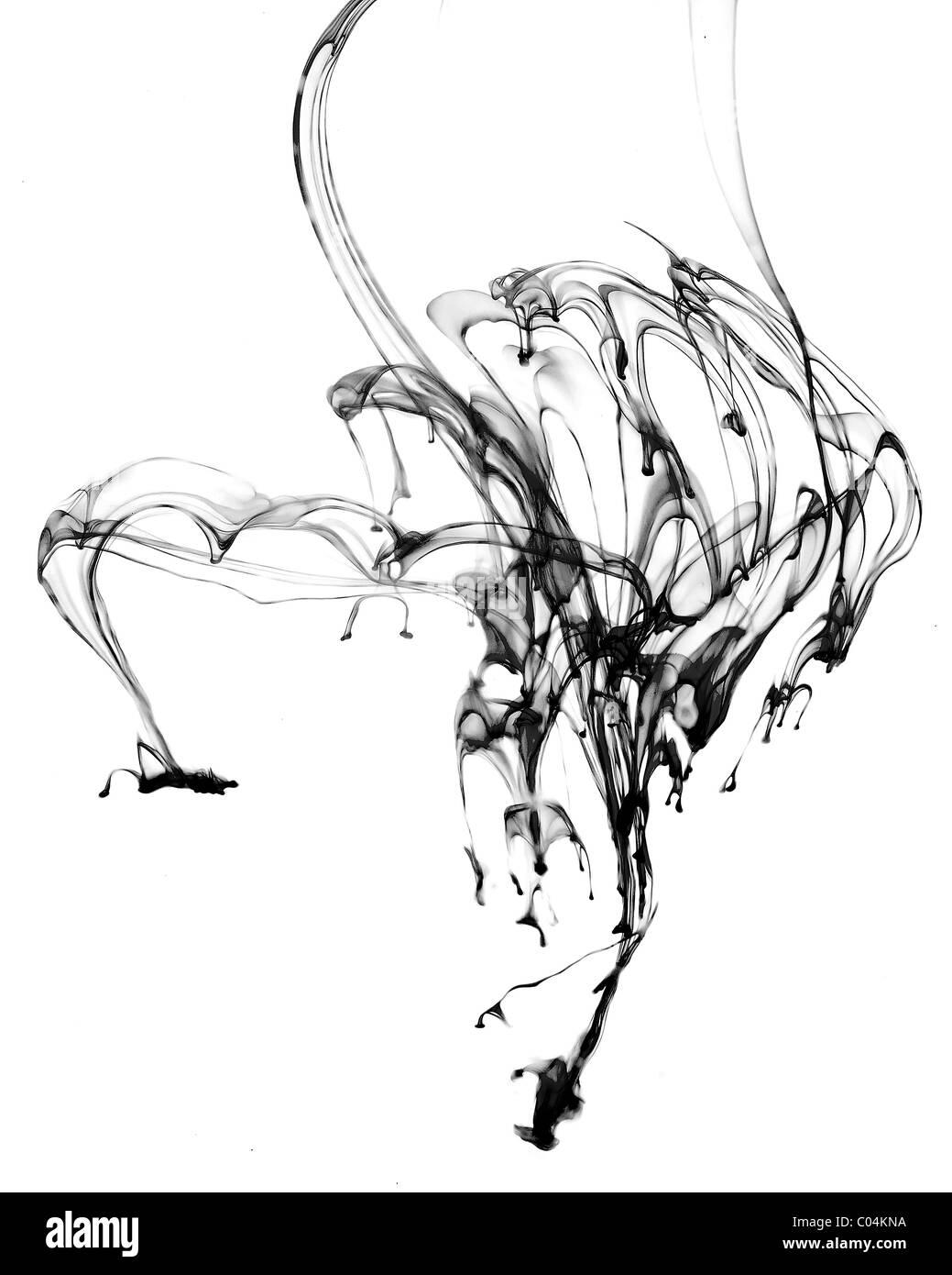 Tinte unter Wasser in schwarz / weiß Stockbild