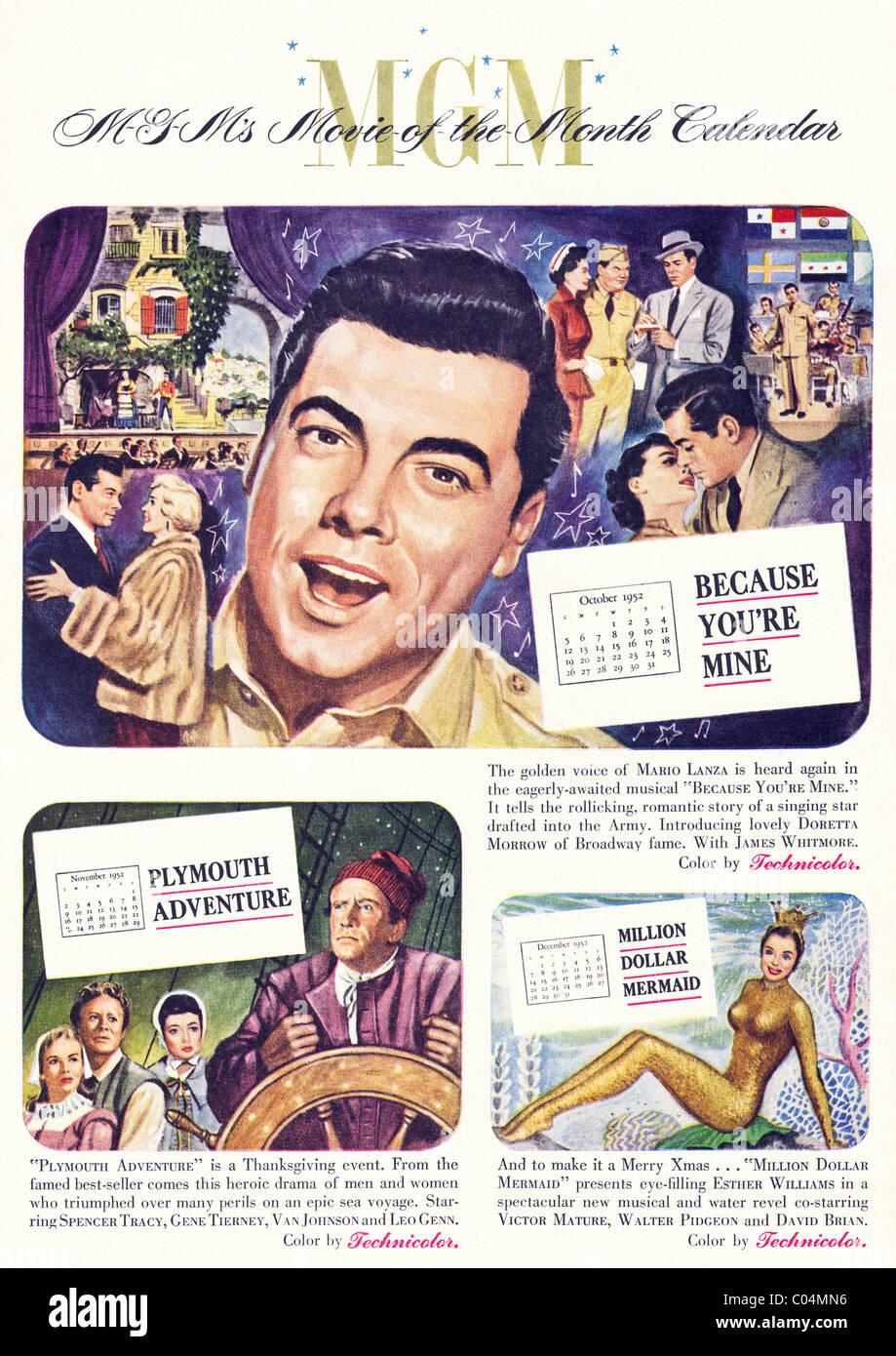Original 1950er Jahre ganzseitige Anzeige in der amerikanischen Verbraucher-Magazin für MGM mit Film des Monats Stockbild