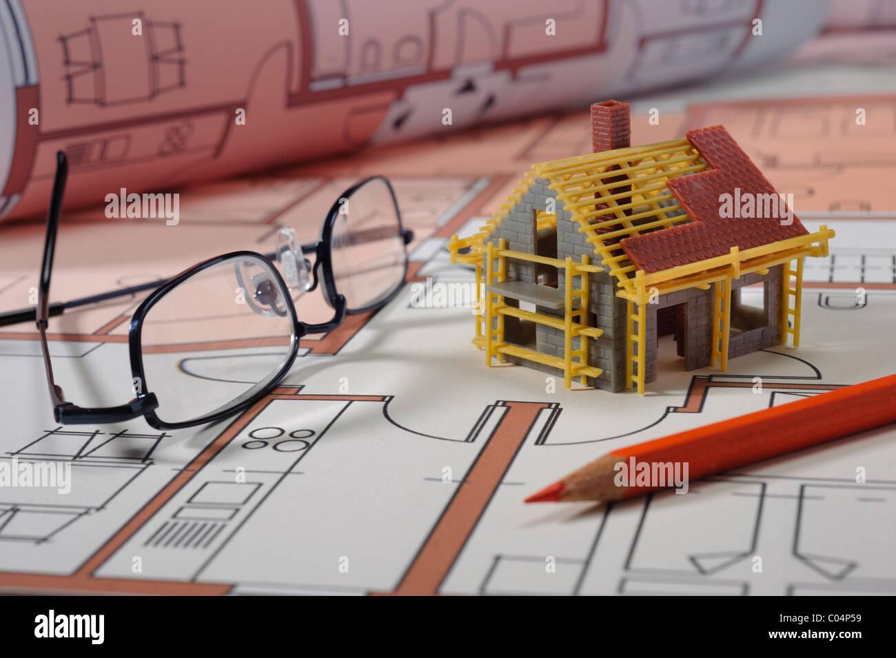 Architektur Plan Und Modell Haus Stockfoto Bild 34525941 Alamy