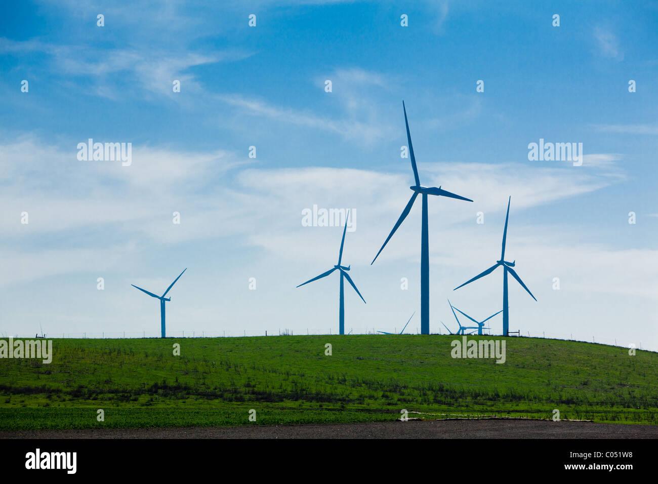 Windpark bei blauem Himmel Stockbild
