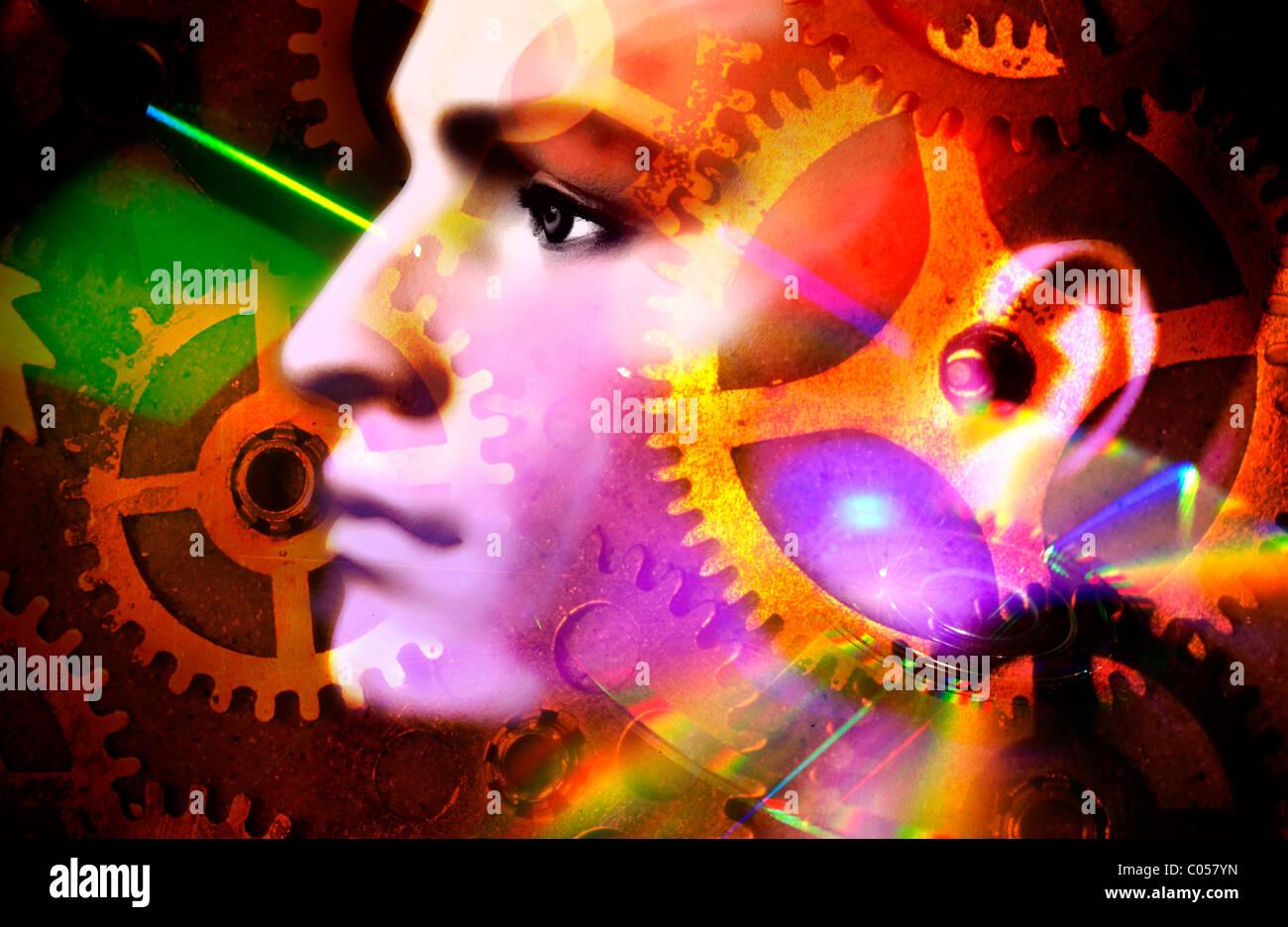 Denken, geistige Gesundheit, Gedanken, Psychologie, Ideen Konzept Stockbild