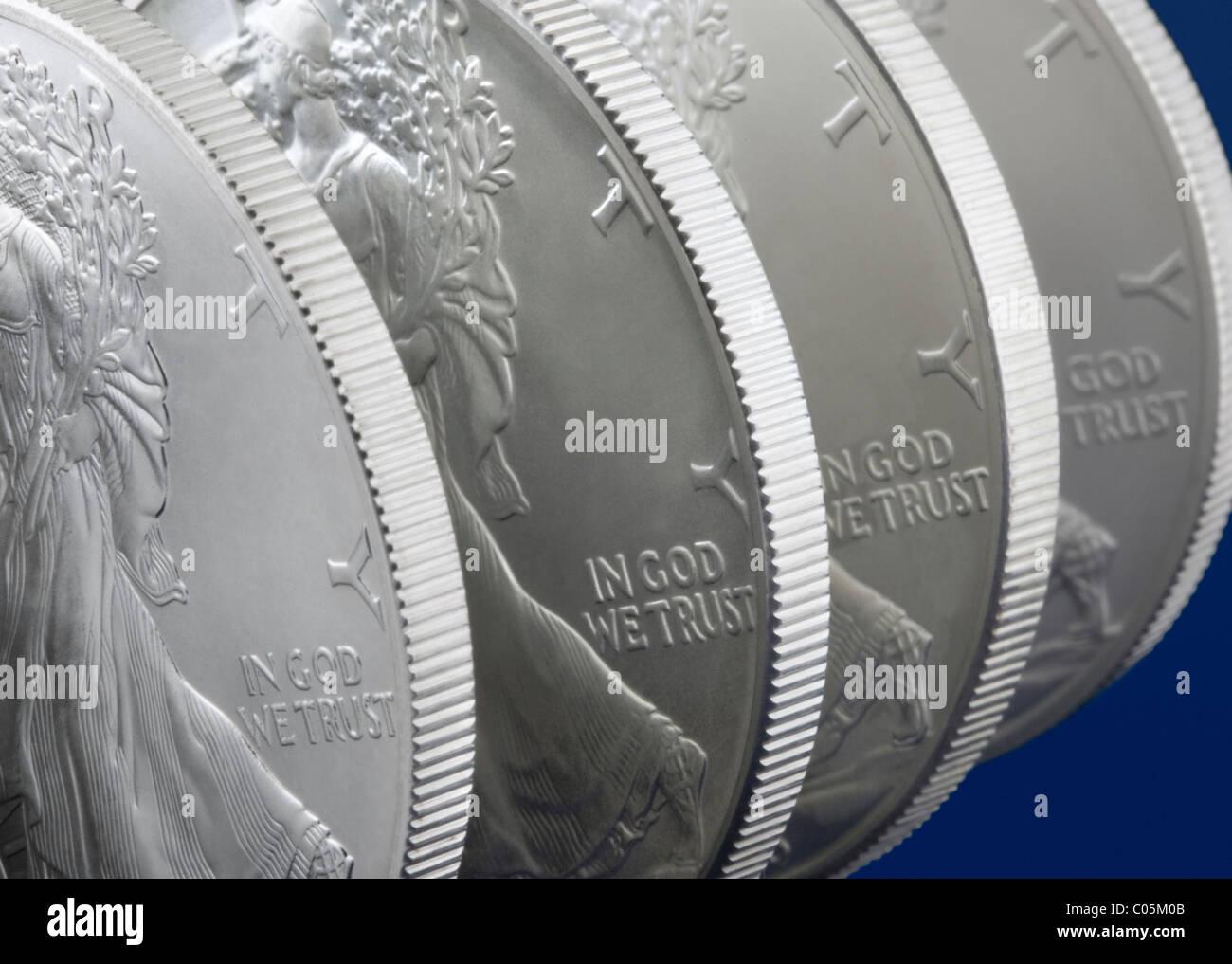 Eine Unze Walking Liberty U.S. Silver Eagle Münzen Stockbild