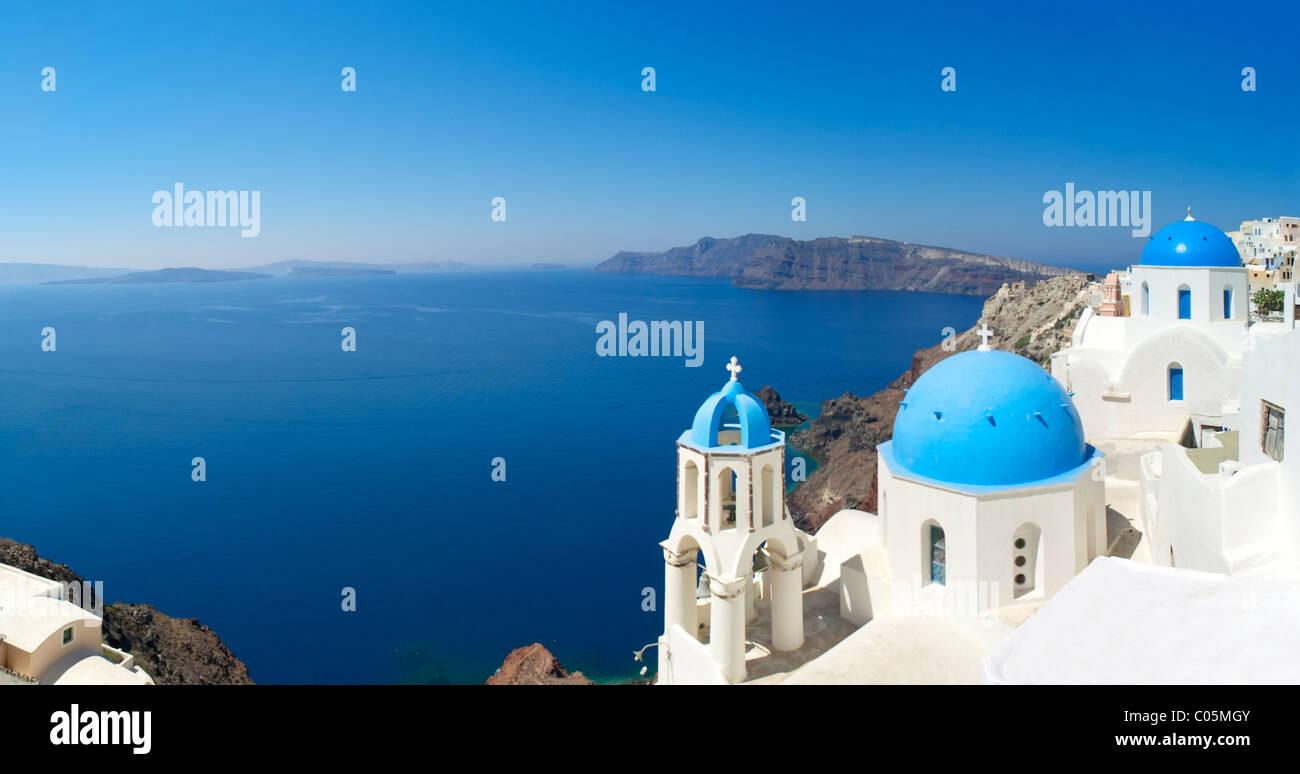 Santorini, Greece.Santorini. Blick auf Caldera, Oia, Stockbild