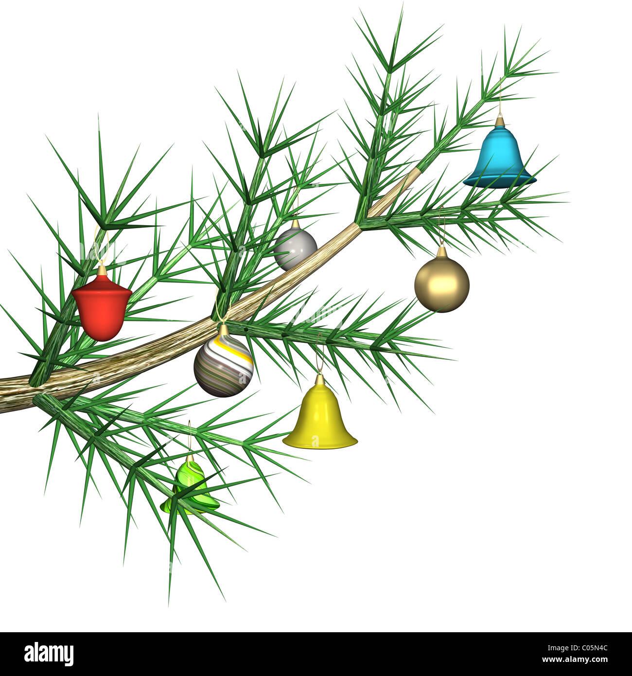 Weihnachtsbaum Ast.Bunte Tannenbäume Spielzeug Auf Einem Tannenbaum Ast Es Ist