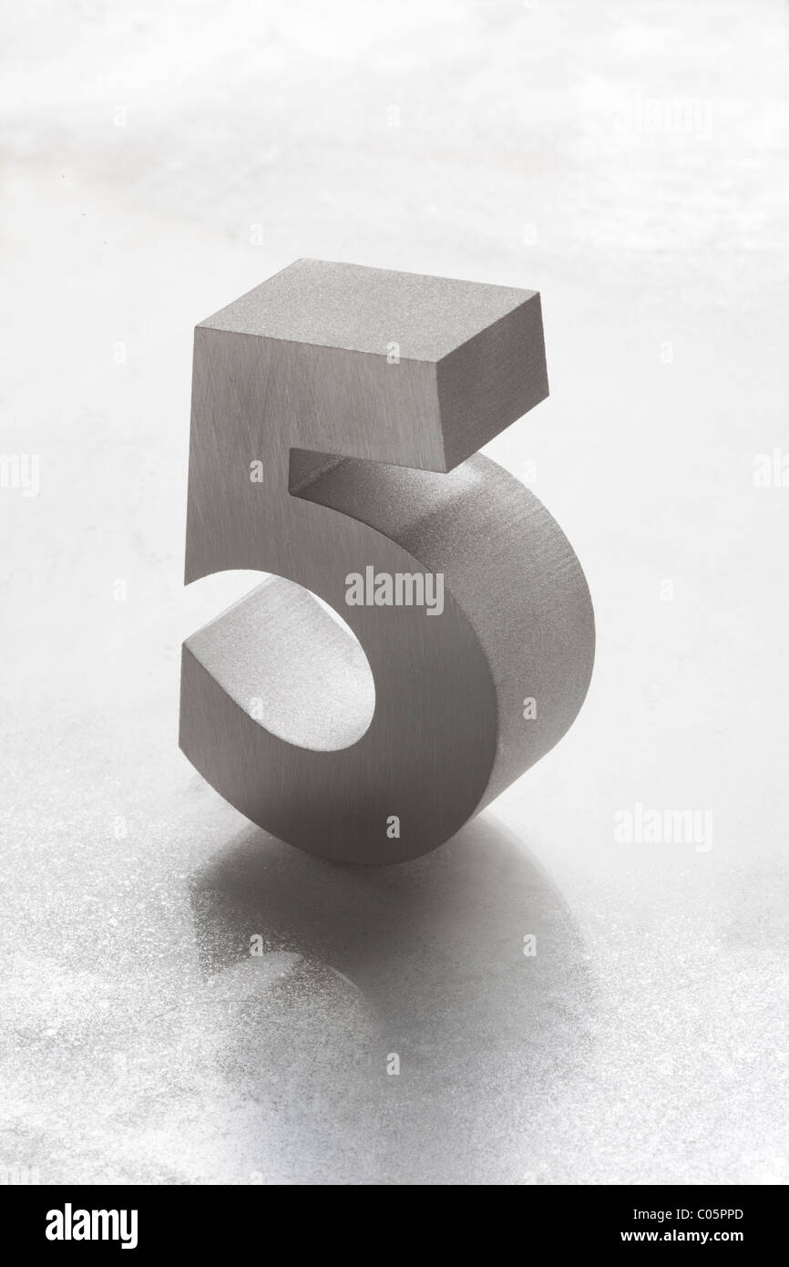 Silber 5 Nummer 5 Stockbild