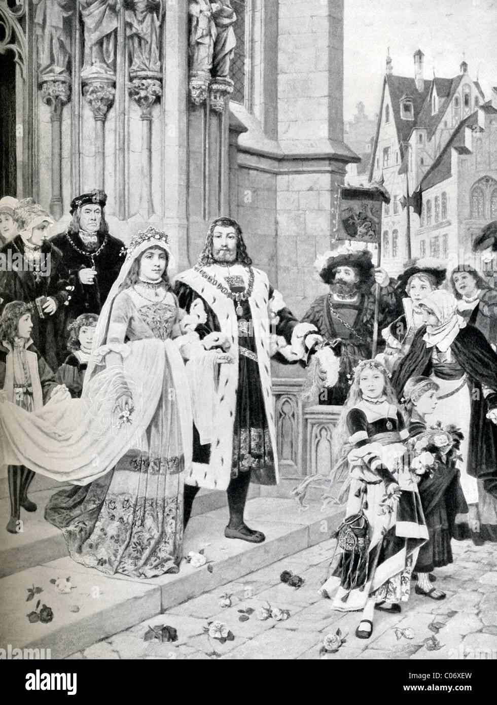 . Am 7 Juli 1494 im Alter von 23 heiratete Albrecht Dürer Agnes Frey, Tochter des prominenten Brassmaker in Stockbild