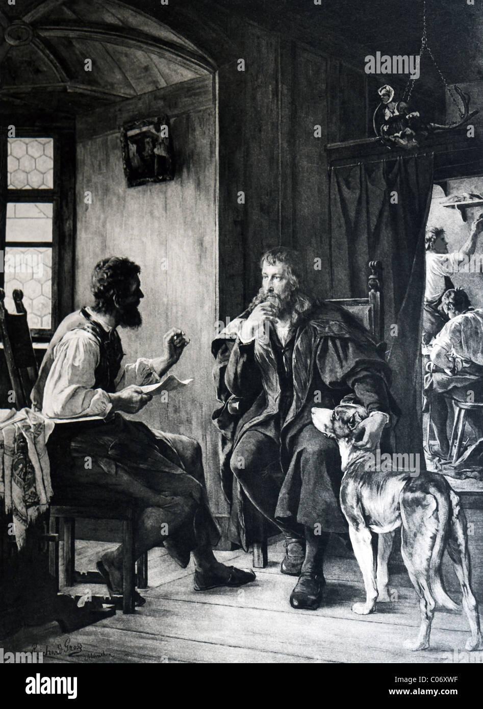 Deutscher Dichter Hans Sachs (links) und deutsche Künstler Albrecht Dürer treffen und interessante für Stockbild