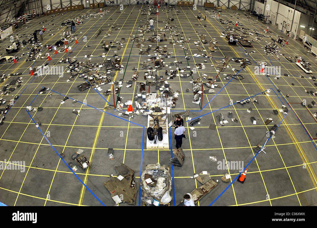 Die Columbia-Wiederaufbau-Projekt versucht, die Unterseite des Orbiter als Teil der Untersuchung zu rekonstruieren Stockbild