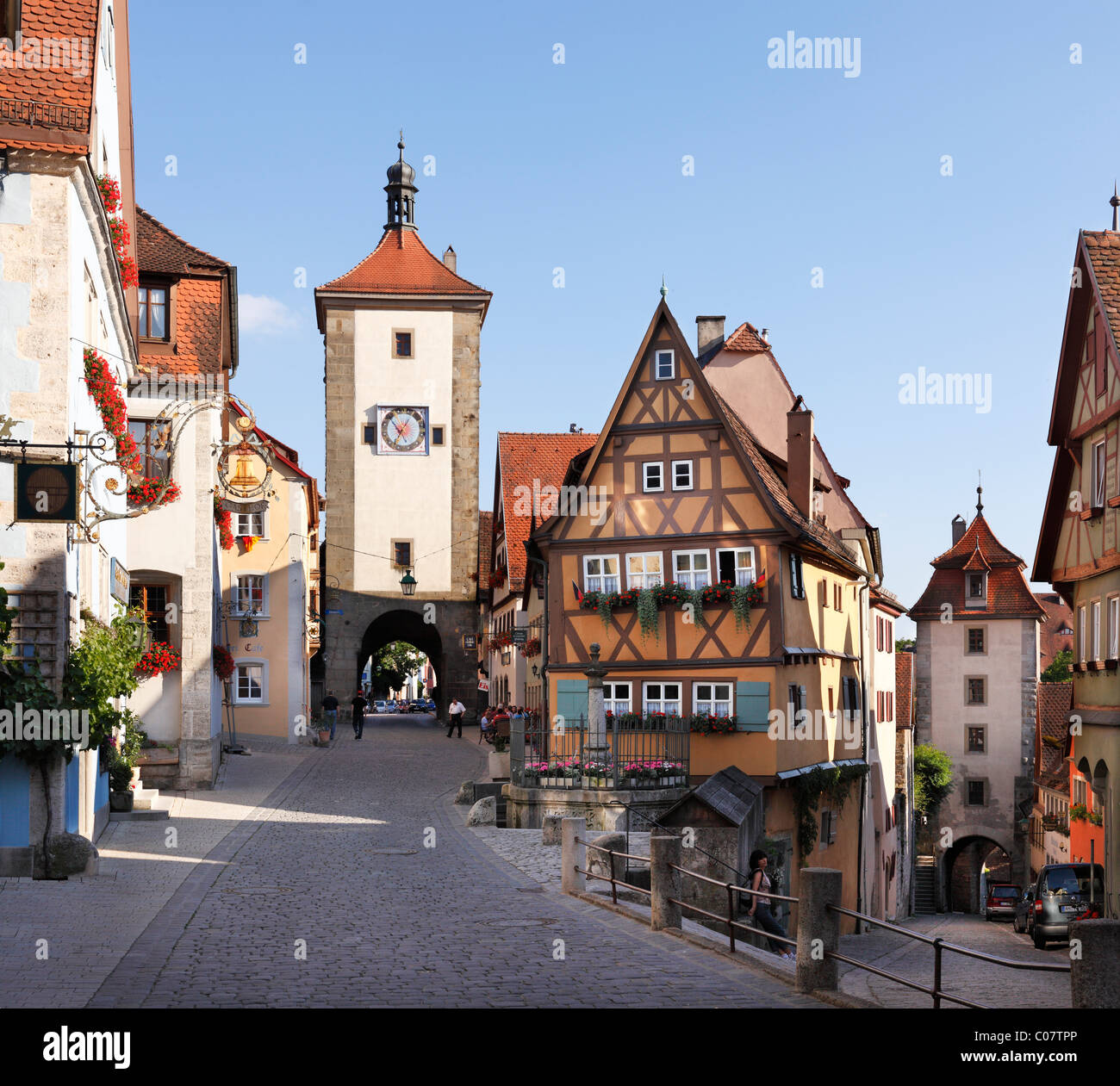 ploenlein stra enkreuzung und siebersturm turm rothenburg ob der tauber romantische stra e. Black Bedroom Furniture Sets. Home Design Ideas