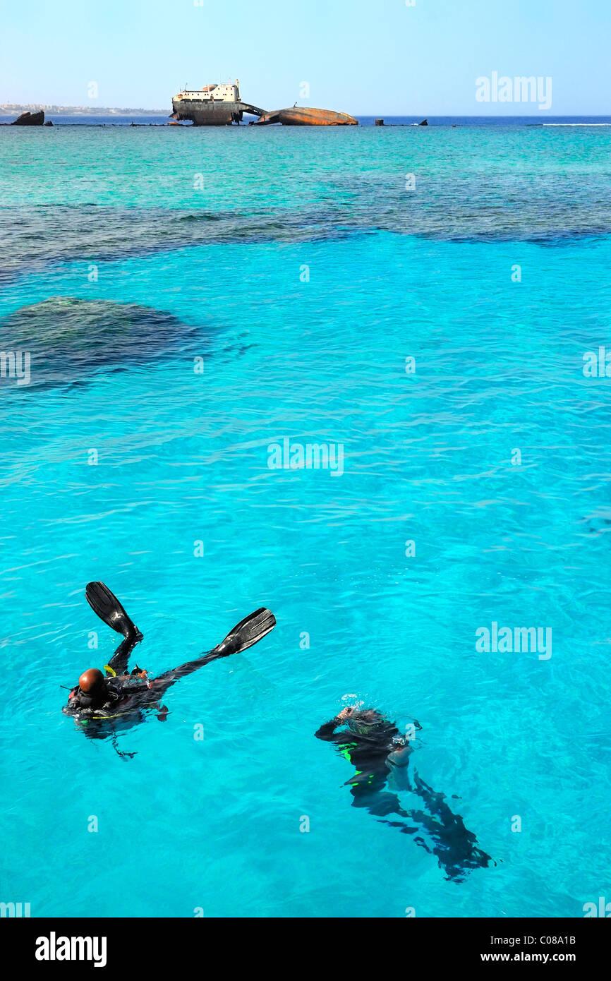Tauchen in der Nähe der Loullia Schiffswrack (Gordon Reef, Insel Thira) nördlich von Sharm El Sheikh, Stockbild