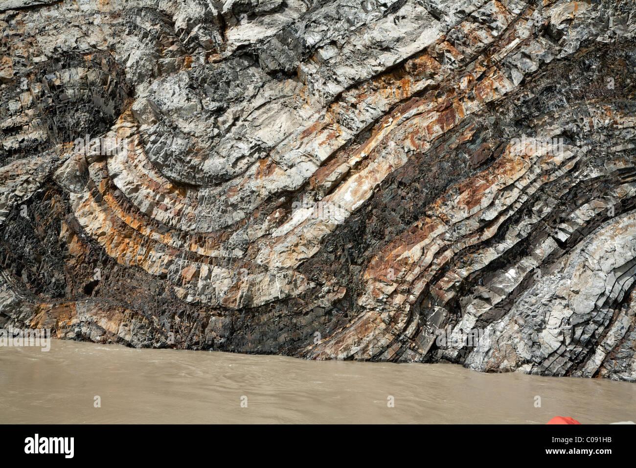 Nahaufnahme von Calico bluff entlang dem Yukon River im Yukon-Charley Rivers National Preserve, innen Alaska, Sommer Stockbild
