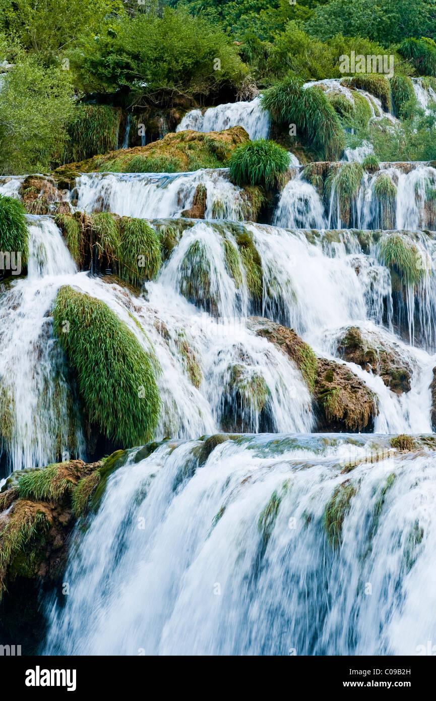 Wasserfälle, Nationalpark Krka, Region Sibenik-Knin, Kroatien, Europa Stockfoto