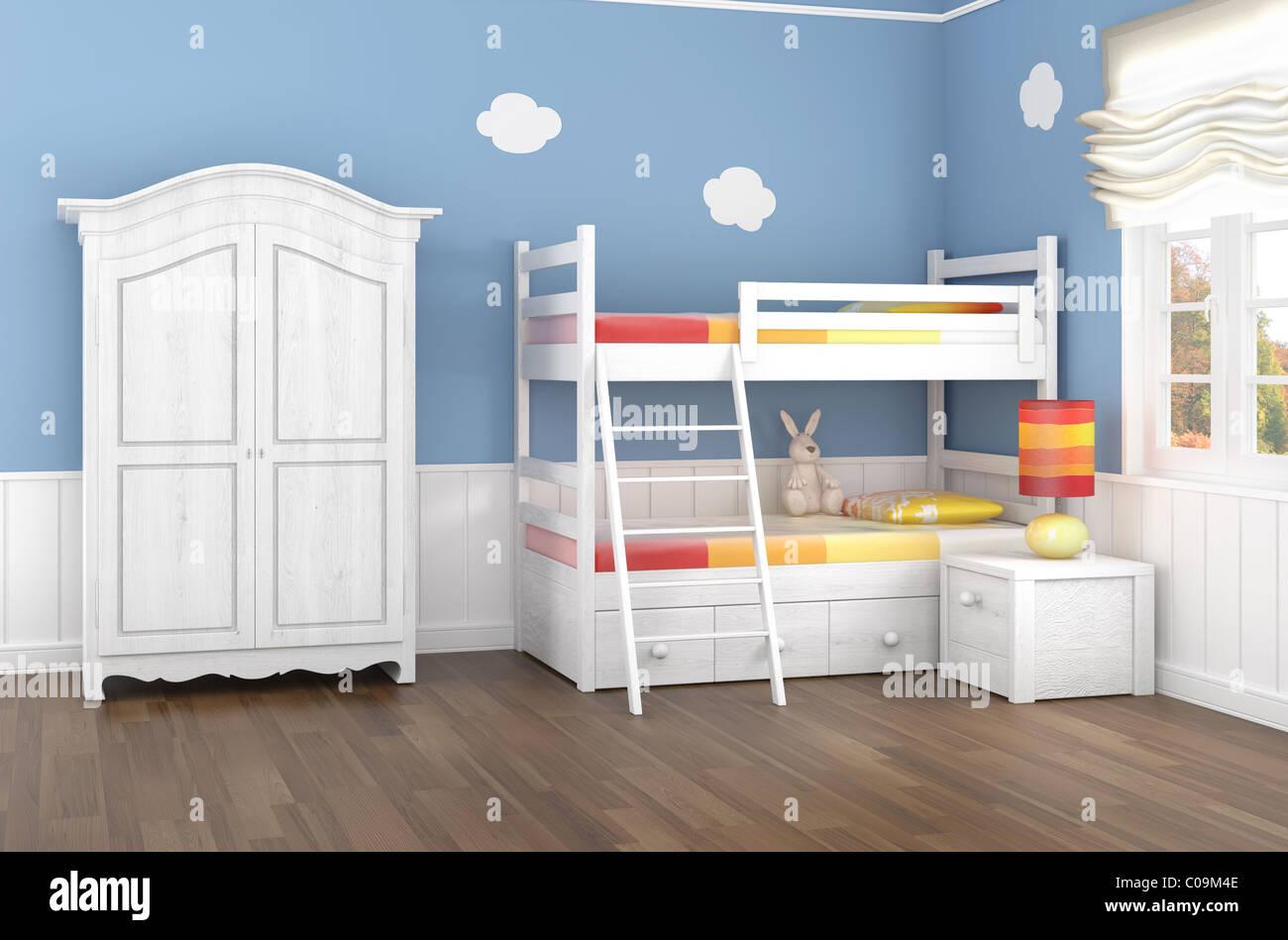 Etagenbett Schrank : Kinderzimmer in blauen wänden mit etagenbett und schrank stockfoto