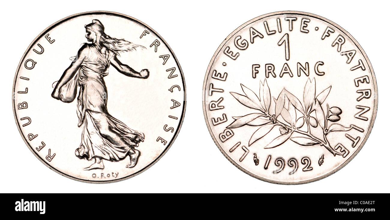 1 Französische Franc Münze Von 1992 Stockfoto Bild 34651312 Alamy