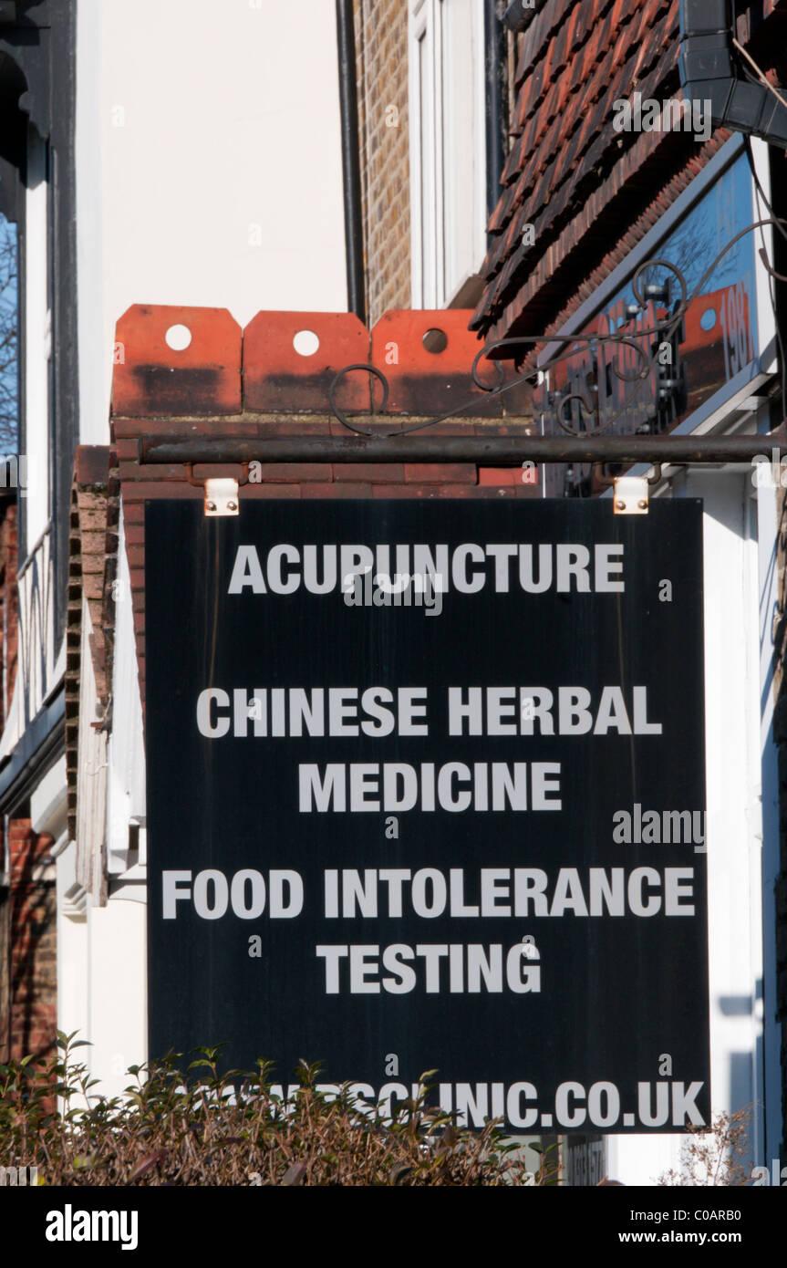 Zeichen für eine ergänzende alternative Therapie Klinik Stockbild