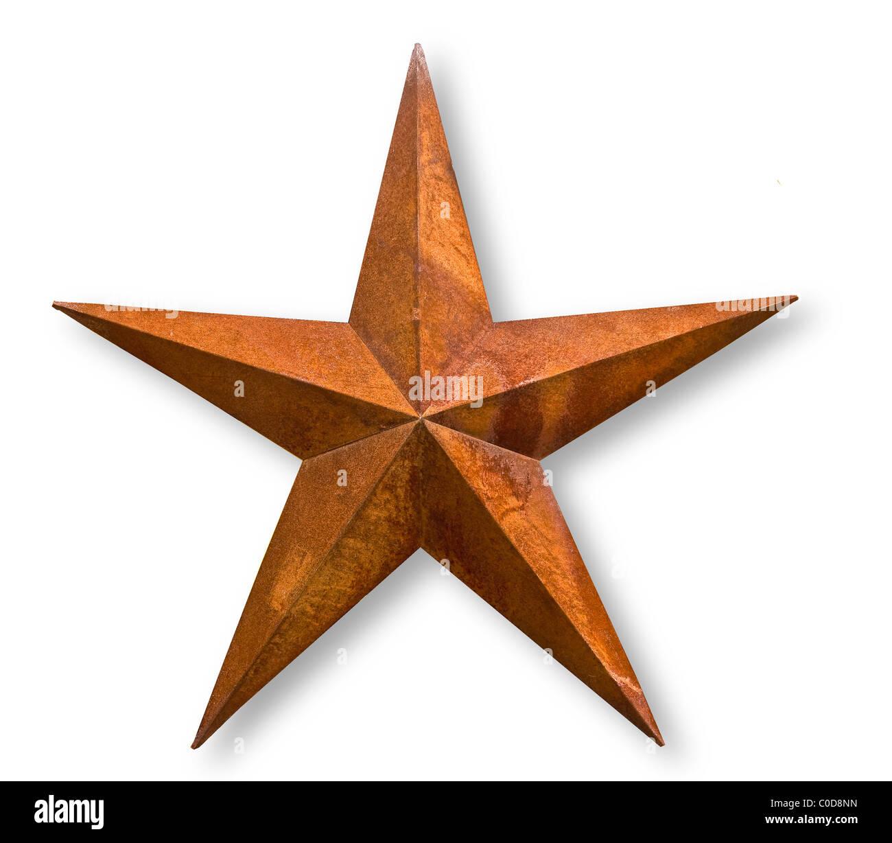Metall Stern auf weißen, rostige patina Stockbild