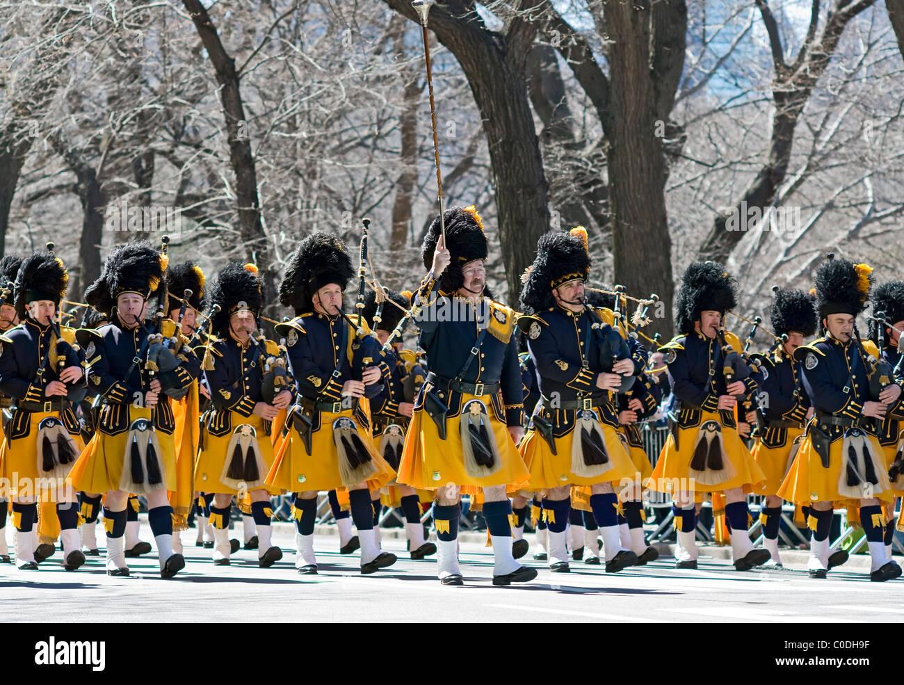 Dudelsackspieler am St. Patricks Day Parade auf der Fifth Avenue in New York City. Stockbild
