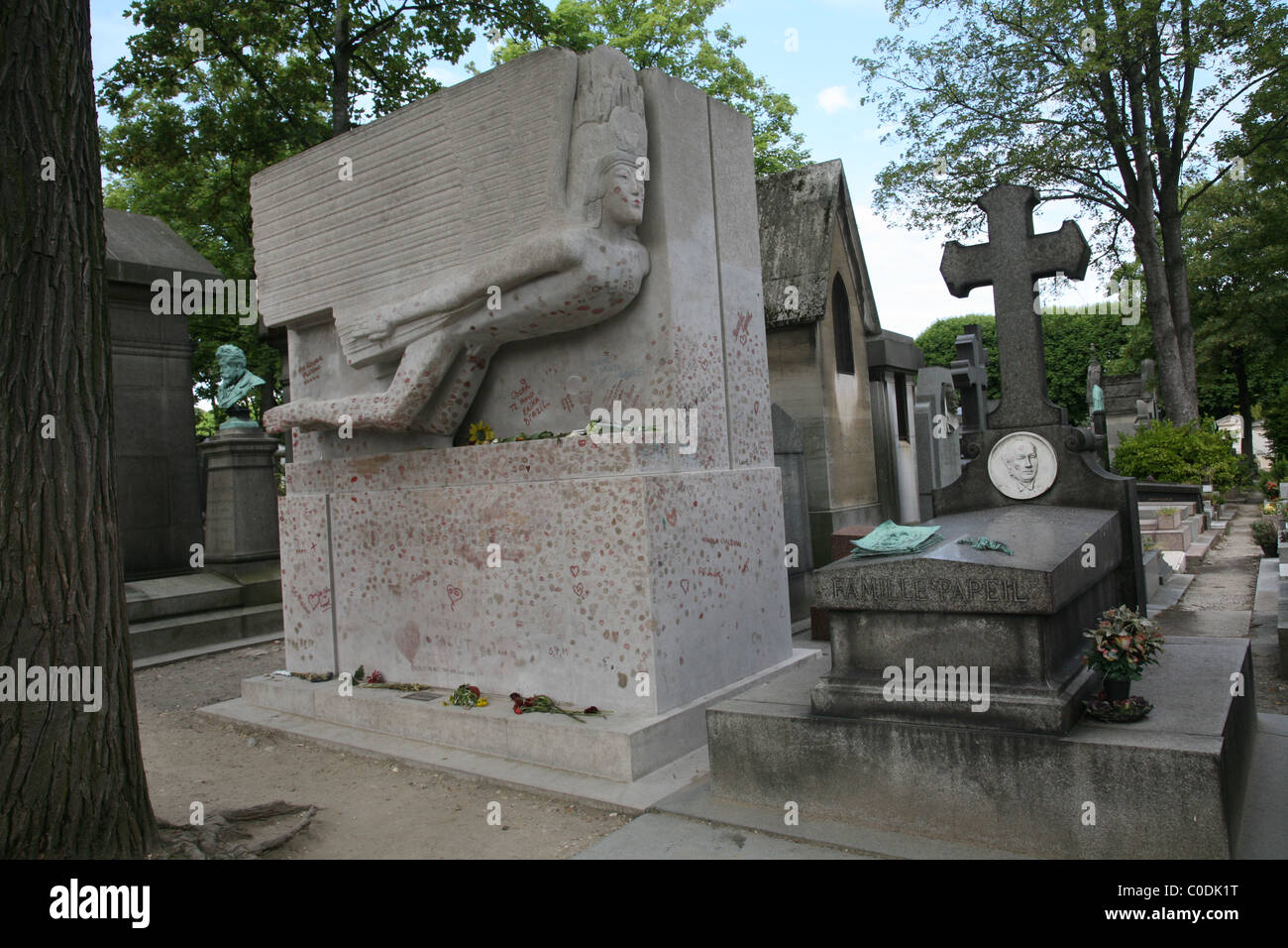 Oscar Wildes Grab, Friedhof Pere Lachaise, Paris Stockbild