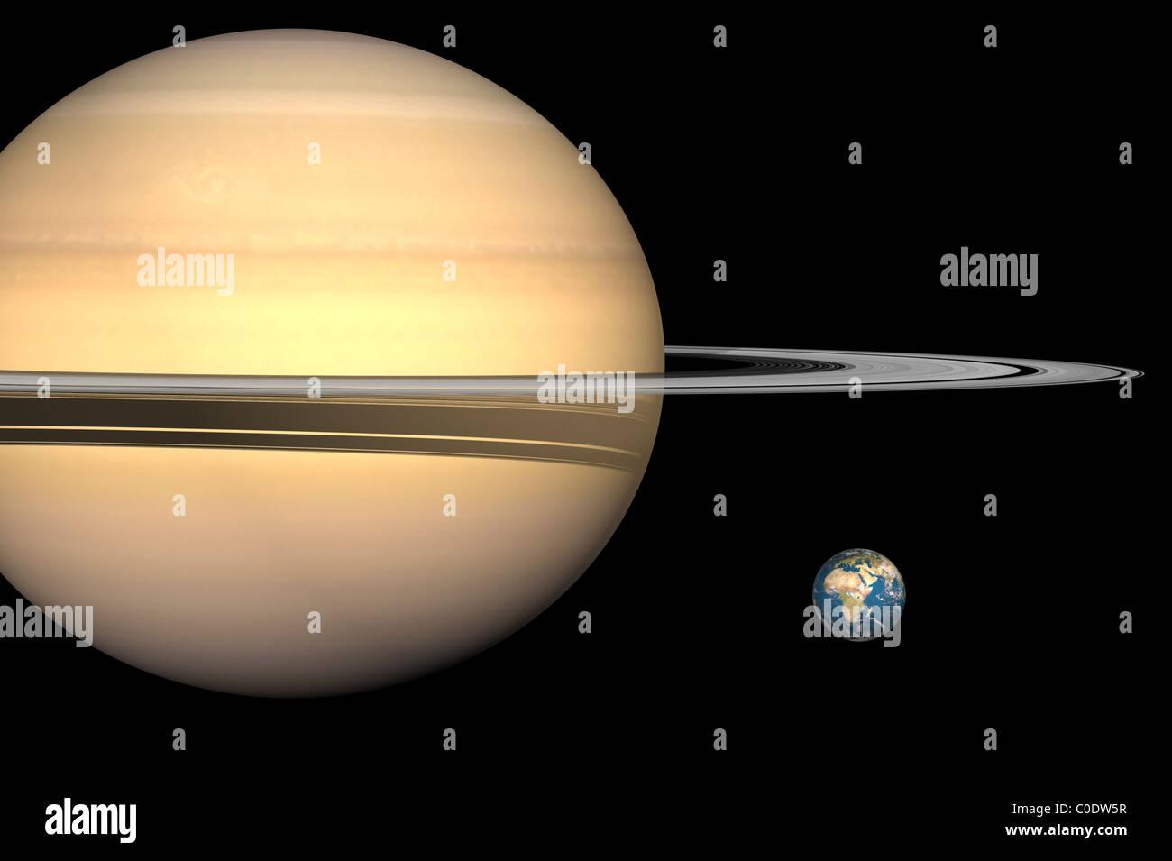 Illustration von Saturn und Erde maßstabsgetreu. Stockbild