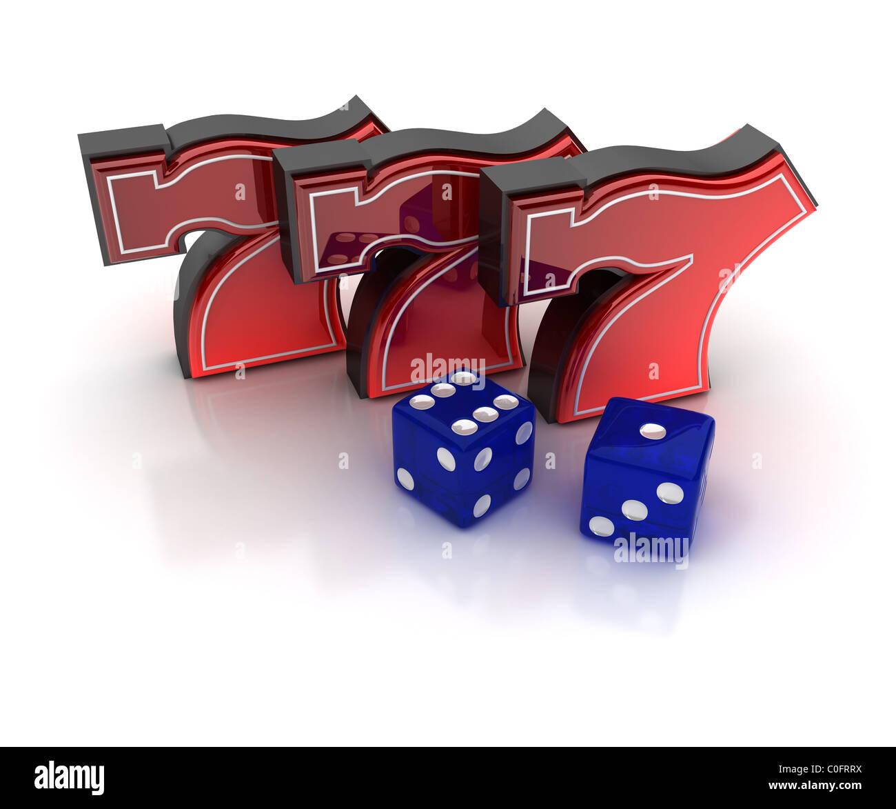 Glückszahl sieben und Würfel Stockbild