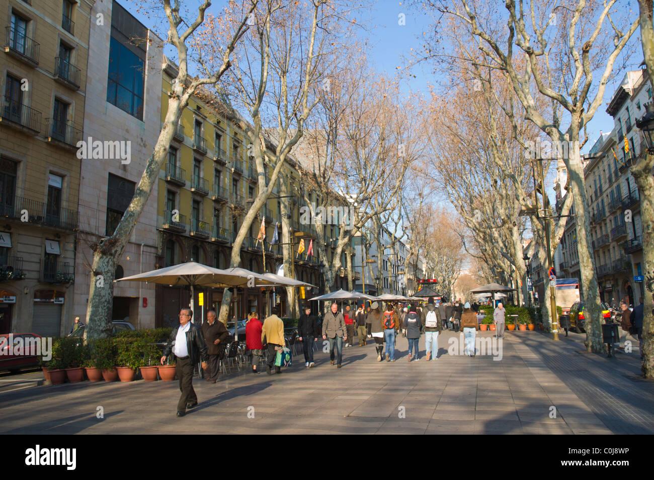 La Rambla Boulevard Mitteleuropas Winter Barcelona Catalunya Spanien Stockbild