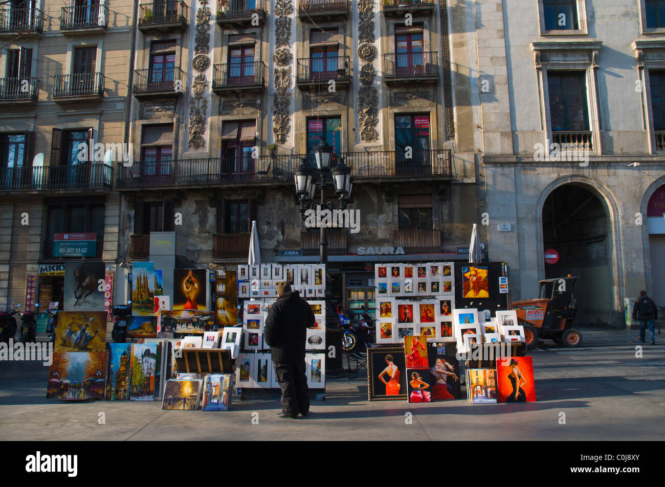 Kunst stand auf La Rambla Boulevard zentrale Barcelona Catalunya Spanien Europa Stockbild