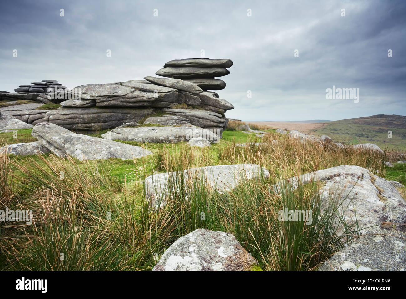 Grobe Tor. Bodmin Moor. Cornwall. England. VEREINIGTES KÖNIGREICH. Stockbild