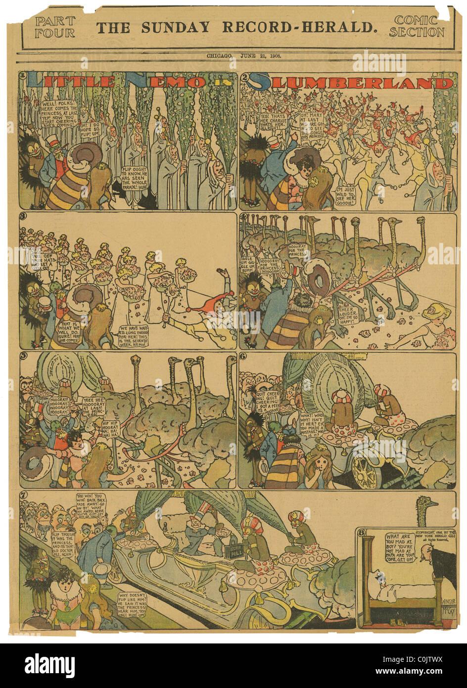 """""""Little Nemo in Slumberland"""" von Winsor McCay aus dem Sonntag Rekord-Herald (Chicago), 21. Juni 1908. Stockbild"""
