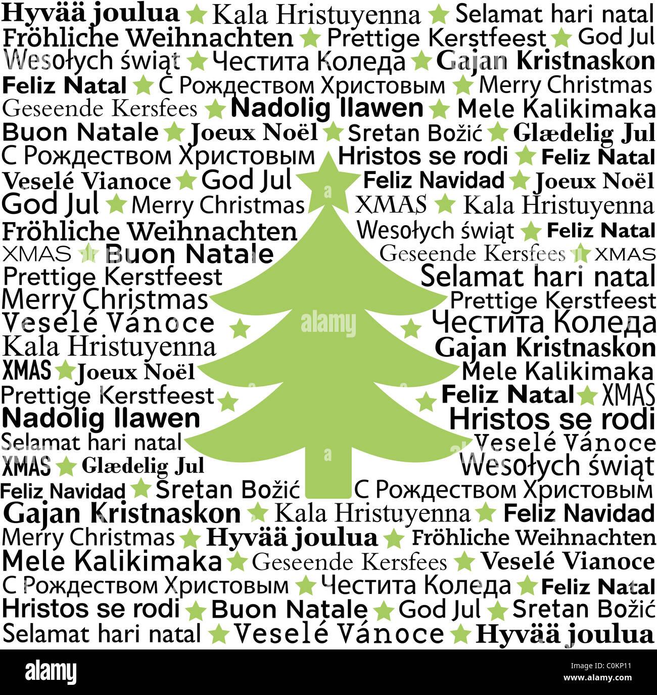 Weihnachtsgrüße In Verschiedenen Sprachen.German Merry Christmas Card Stockfotos German Merry Christmas Card
