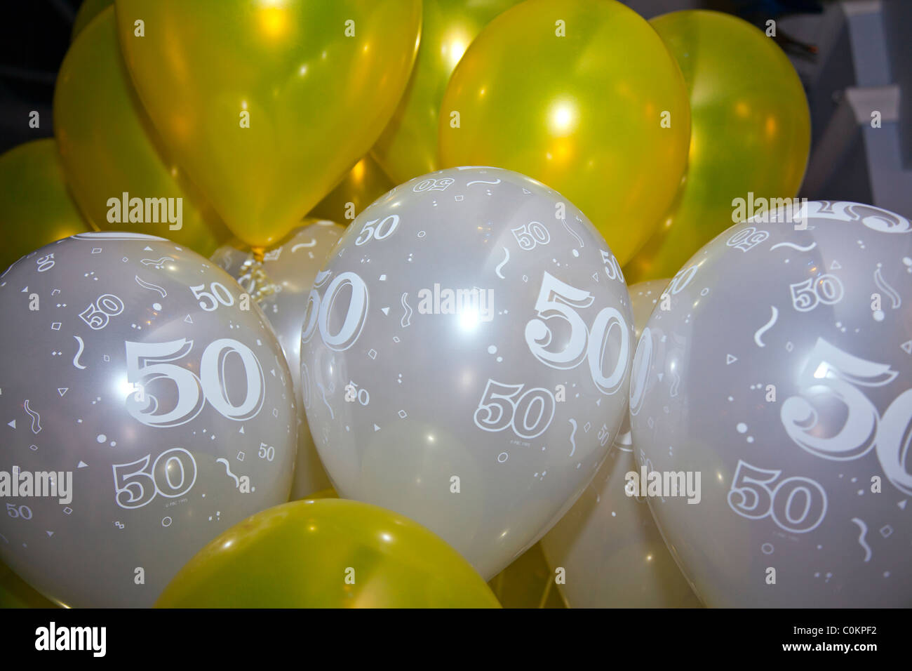 50 Geburtstag Luftballons Feier Dekoration Stockfoto Bild