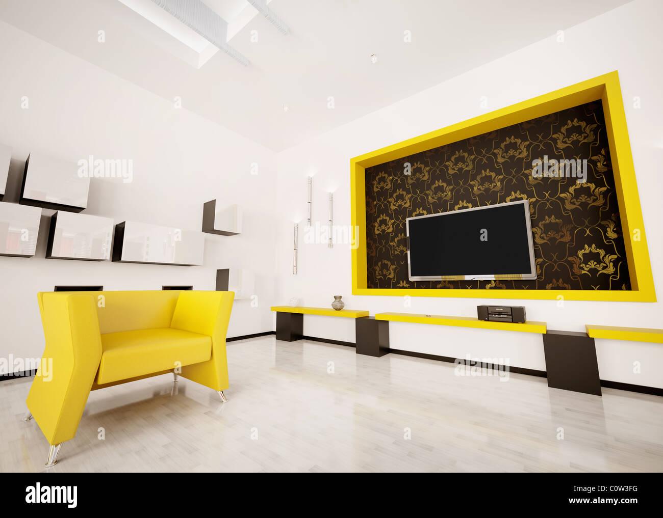 Modernes Interieur Aus Wohnzimmer Mit LCD Anzeige Und Sessel 3d Render  Stockbild