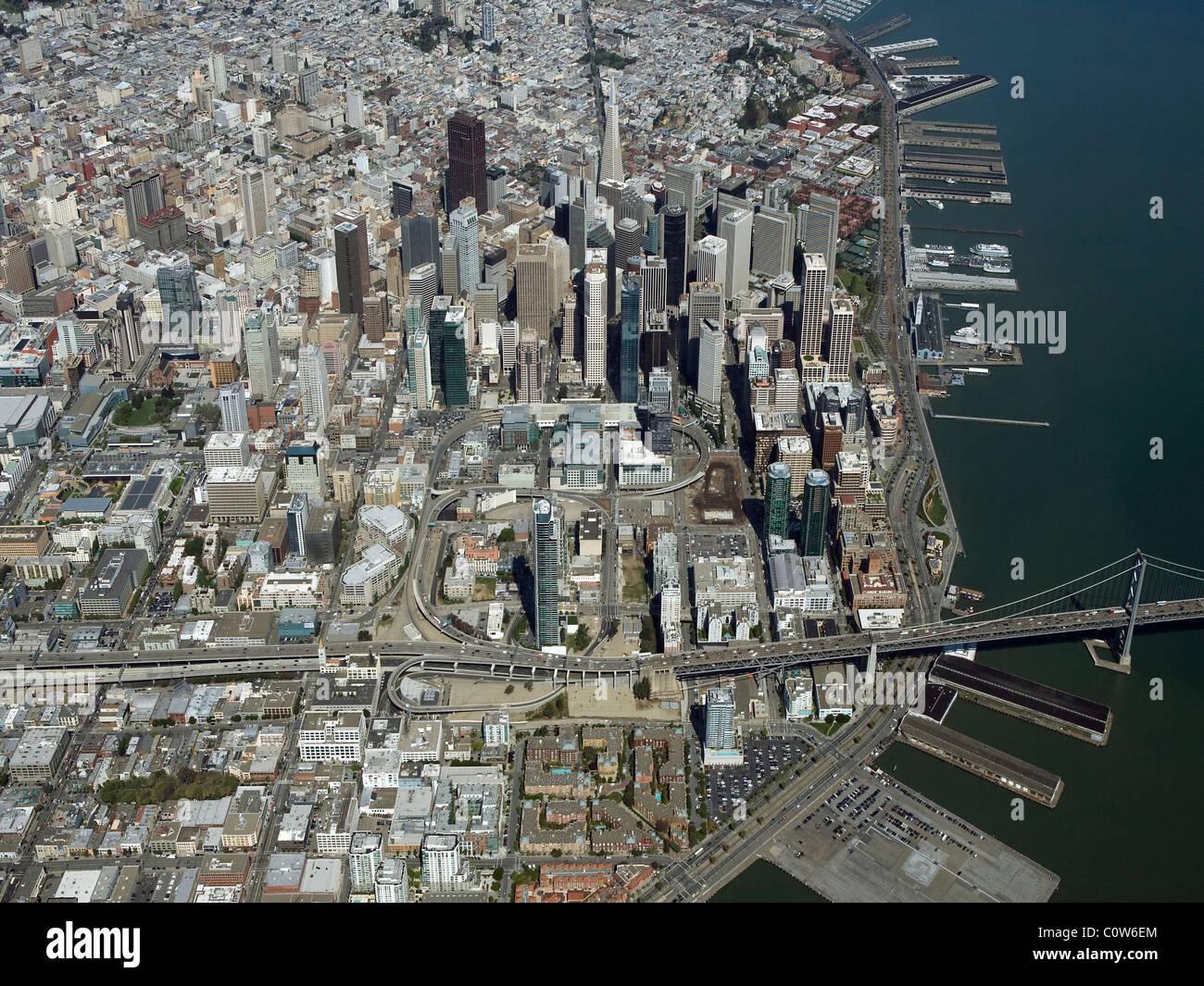 Luftaufnahme über der Innenstadt Bankenviertel Innenstadt von San Francisco Kalifornien Stockbild