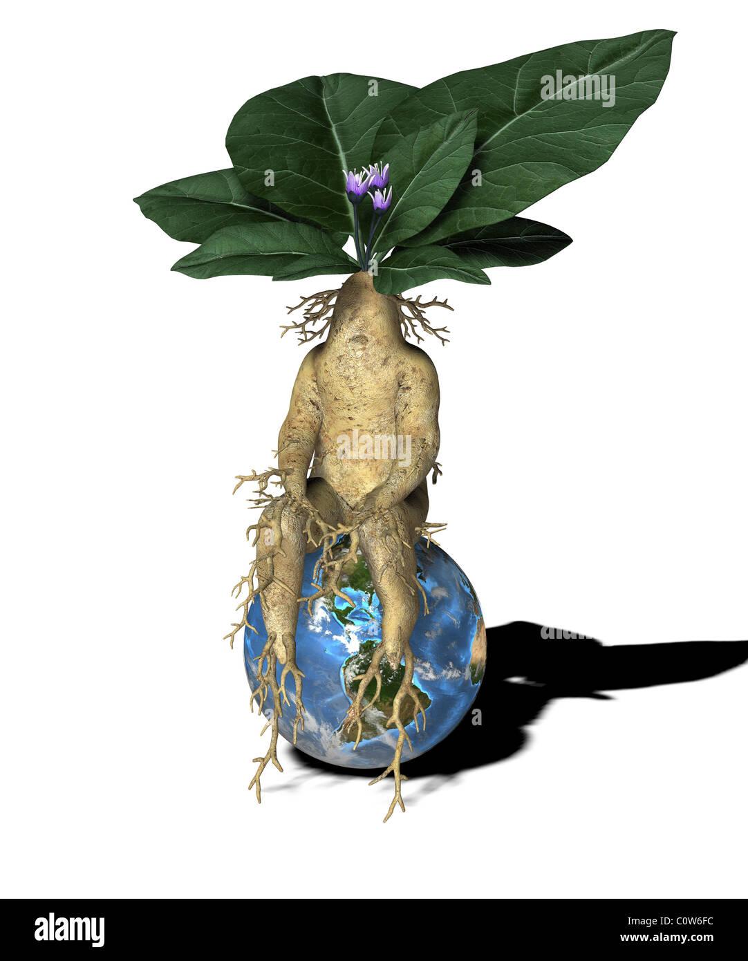 Pflanze-Figur mit Kugel Stockbild