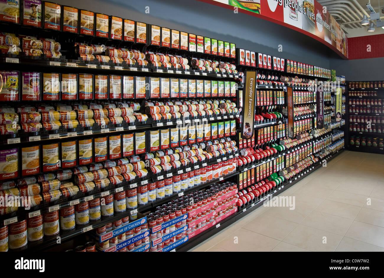 Suppe-Gang In den Supermarkt, New Jersey USA Stockbild
