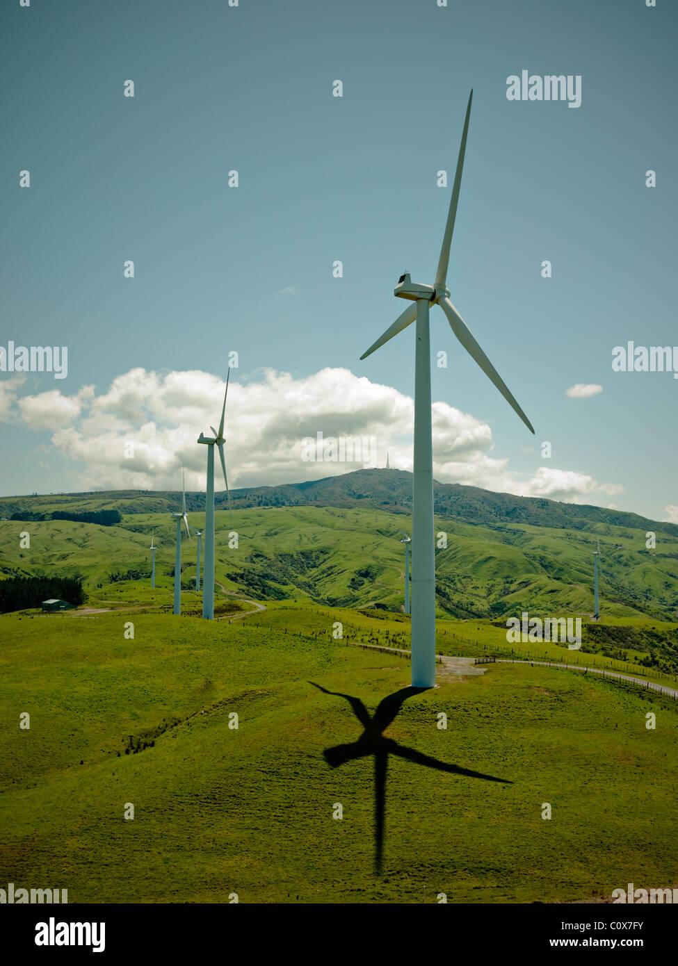 Windkraftanlage, Windpark Te Apiti, Neuseeland. Stockbild