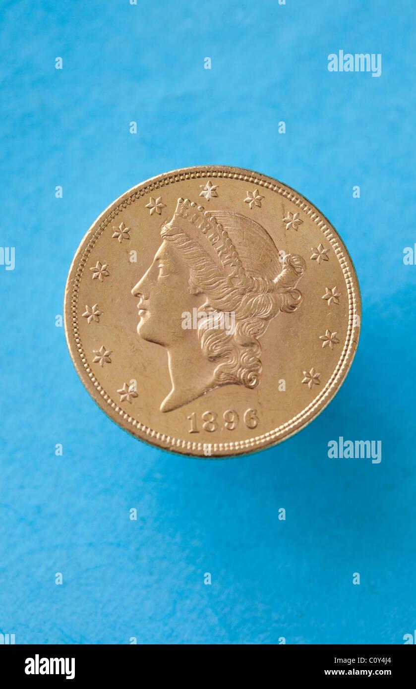 Double Eagle Goldmünze Usa Geld 20 Dollar Sammlerstücke Stockfoto