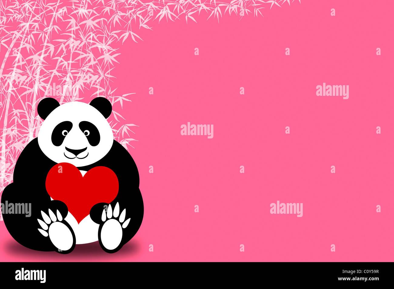 Happy Valentines Day Panda Bar Halt Herz Mit Bambus Illustration