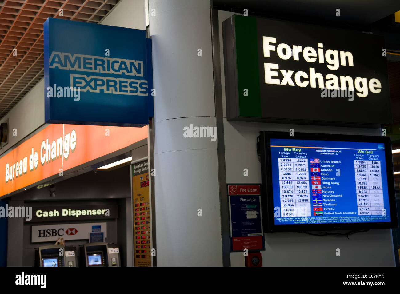 American express bureau de change office bildschirm anzeige der