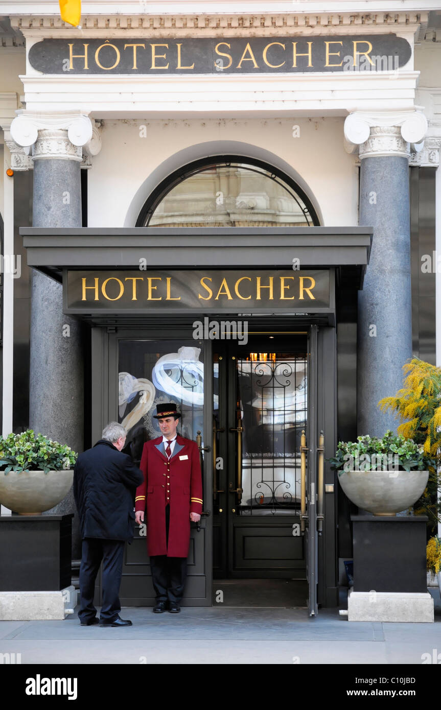 Eingang Hotel Sacher Wien Osterreich Europa Stockfoto Bild