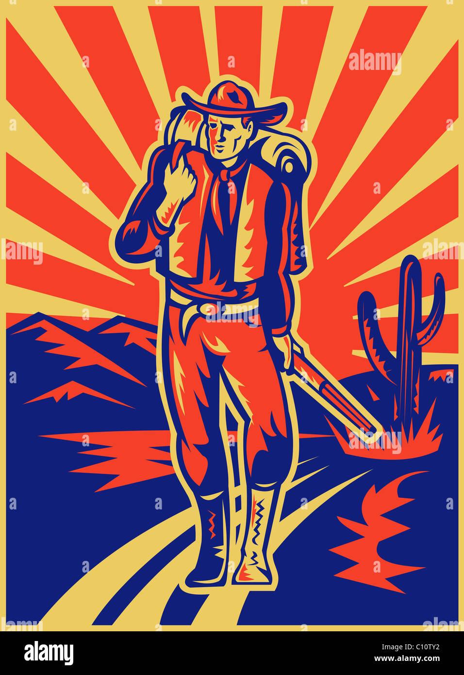 Retro-Stil Abbildung eines Cowboys mit Rucksack und Gewehr zu Fuß mit Wüstenberge und Kaktus im Hintergrund Stockfoto