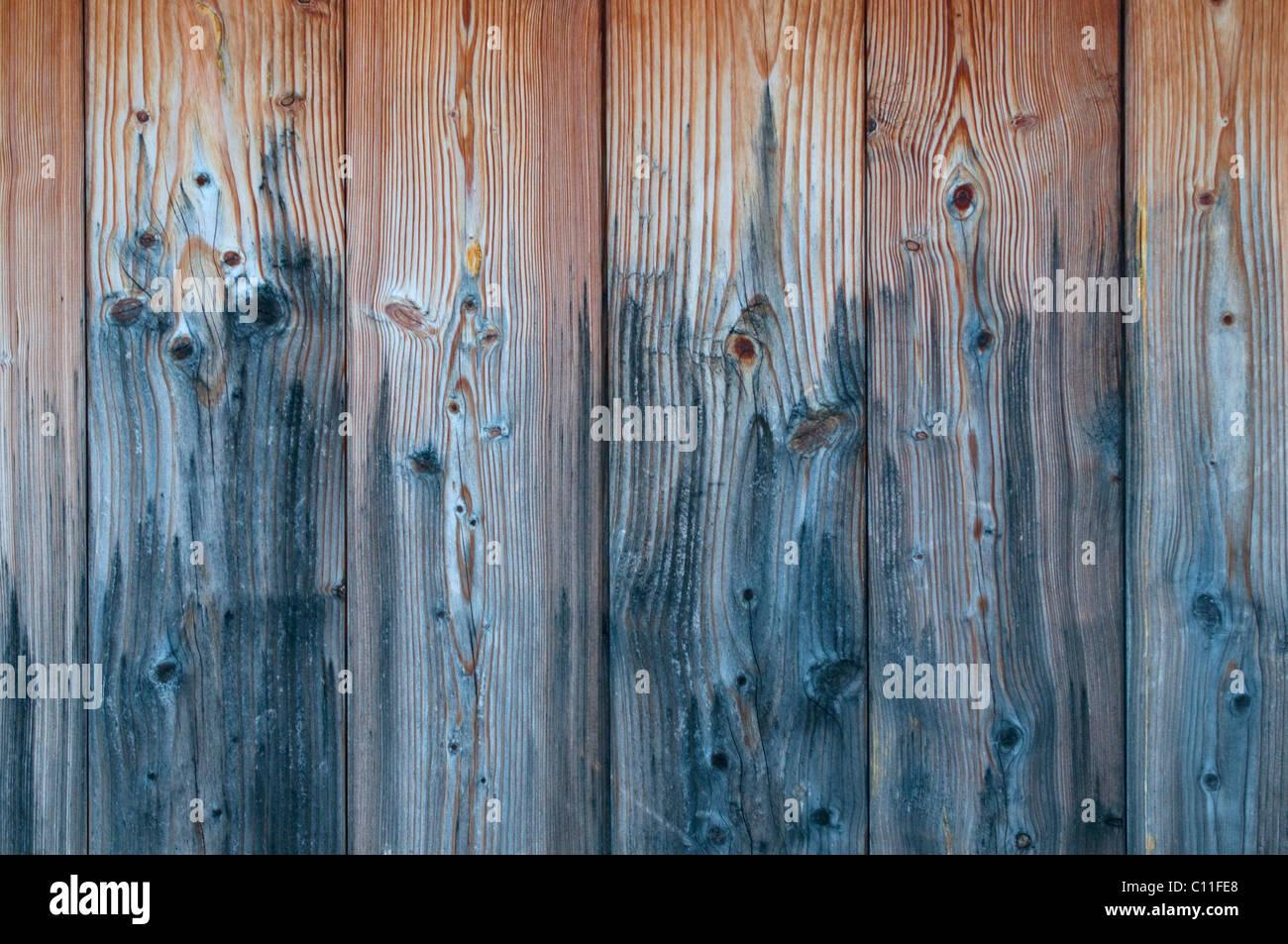 Detaillierten Holztafeln mit verwitterten Grauzonen, Hintergrund Stockbild