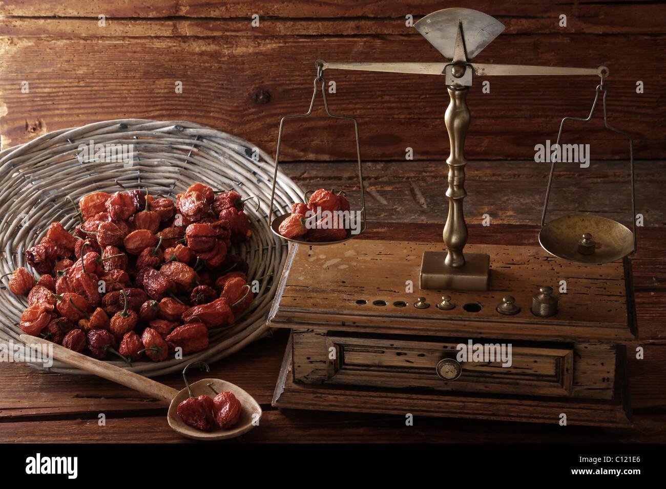 Antike Waage mit einem Gewicht von getrockneten Mini Paprika (Capsicum) auf eine Holzoberfläche Stockbild
